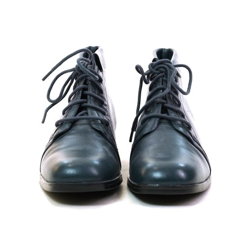 90s Lace Up Ankle Boots in Greyish Dark Blue Leather Size 7
