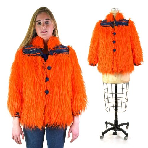 Vintage 60s Orange Faux Fur Coat Handmade One of a Kind Women's Size Extra Small