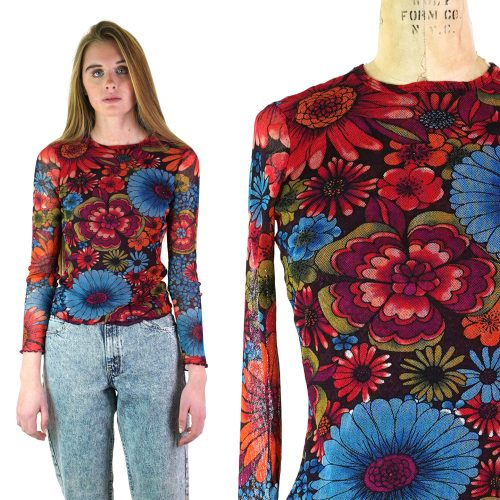 Vintage 90s Stretchy Mesh Long Sleeve Shirt with Retro Floral Print Women's Small