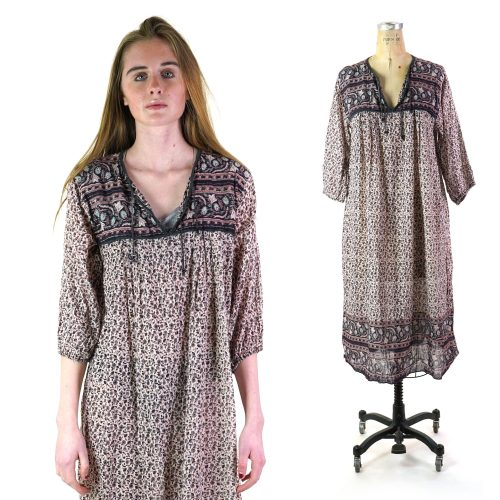 Indian Cotton Gauze Dress with Quilting Size Small Vintage 70s