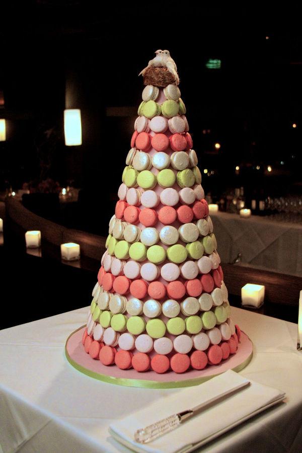 Almond macaron tree as a dessert centerpiece idea