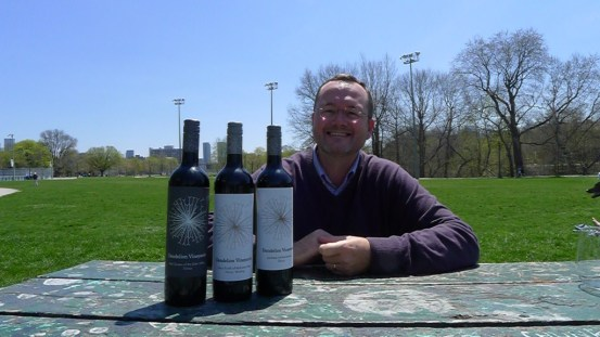 Winemaker Brad Rey goes through a tasting of his wines in Toronto's Trinity Bellwoods Park