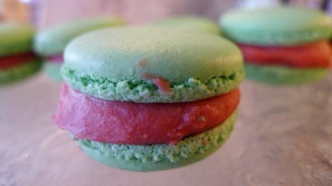 One of the most delightful macarons I have ever experienced: Pistachio, strawberry, and rose. Delicious. I had four...