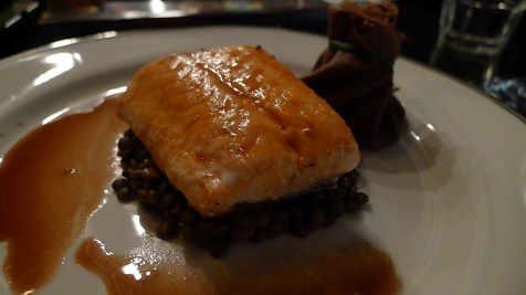 Salmon & Valrhona Caraïbe Seared salmon, pure Caribbean choclate crȇpe & smoked trout rillettes aumonière, Sabarot Le Puy lentils with roasted parsnip, sauce matelote.