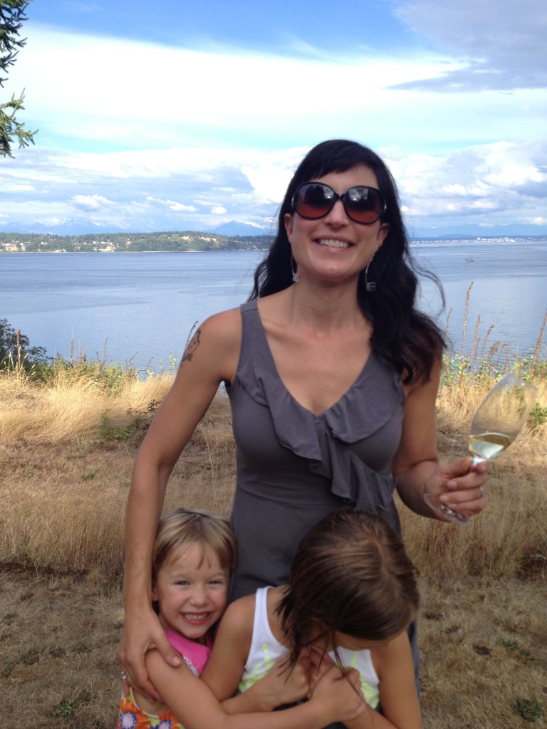 Wine Writer Catherine Cole and her two little ones.
