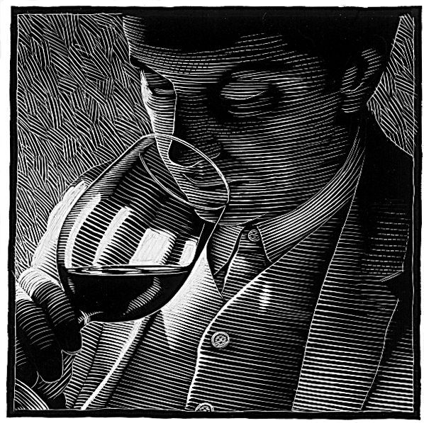 James Morris has always had quite the appreciation for wine and this is captured in an engraving by Scott Williams for his book A Winelover's Diary (Firefly 1999)