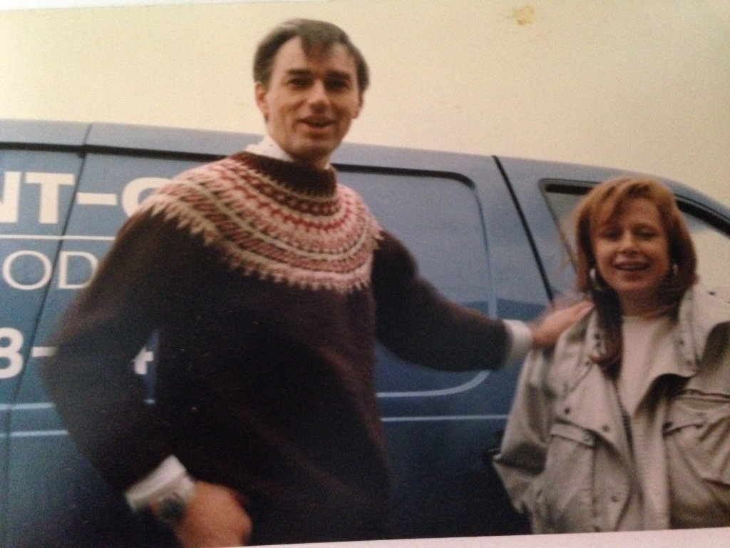 """taken in about 1988 - Donna and I (and our van) after finishing a catering gig"""
