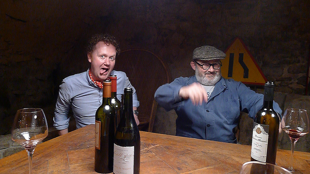 GFR's Jamie Drummond obviously enjoying himself with Vincent Pousson at At Domaine Borie De Maurel with Vincent Pousson.