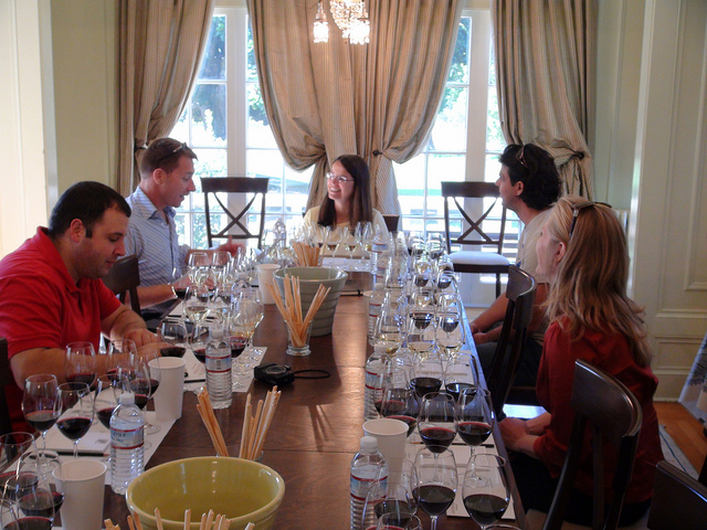 Margo leads a group of Canadian wine writers through an exhaustive tasting of the Chateau St. Jean range.