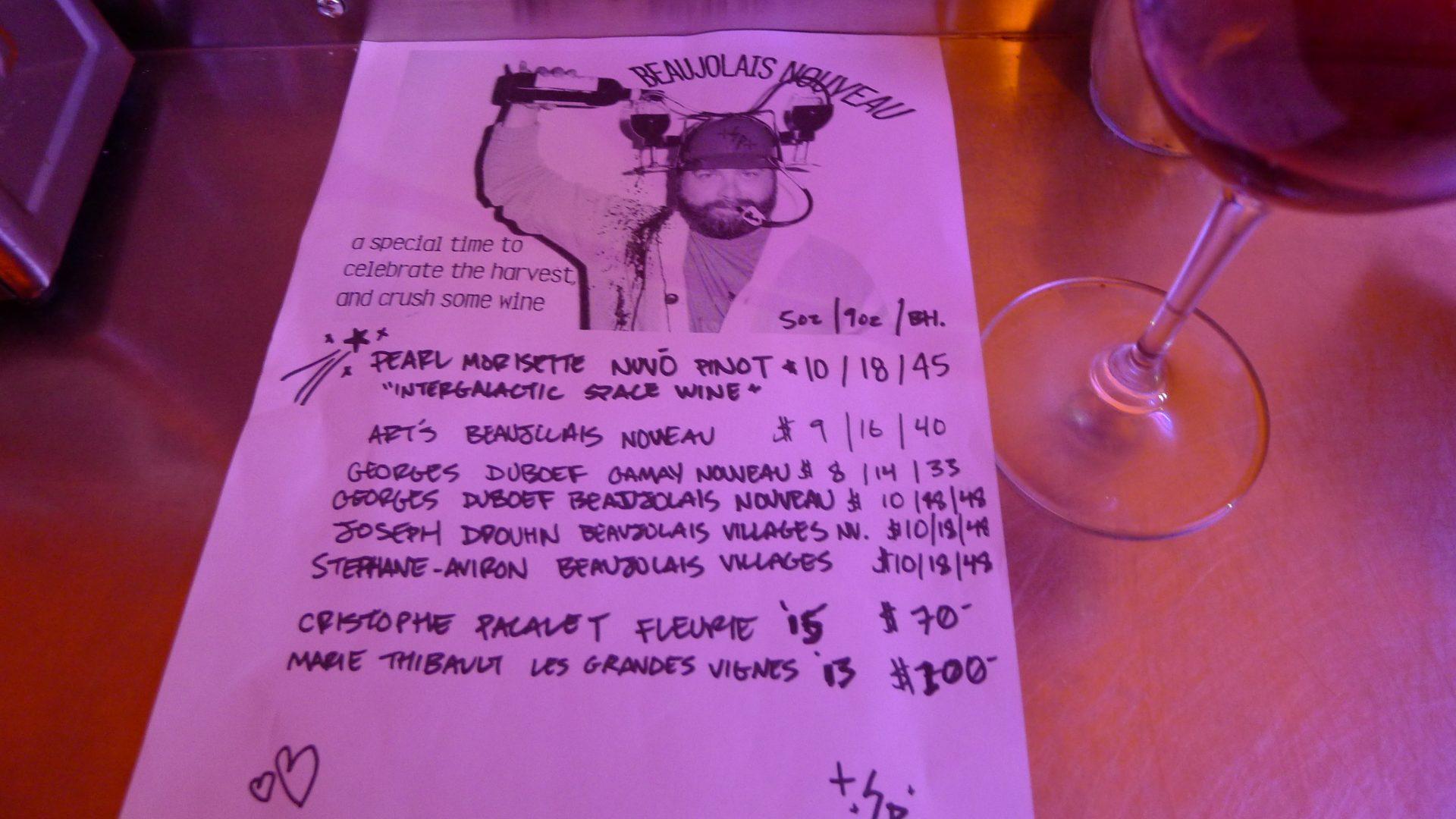 Superpoint's special Beaujolais Nouveau winelist.