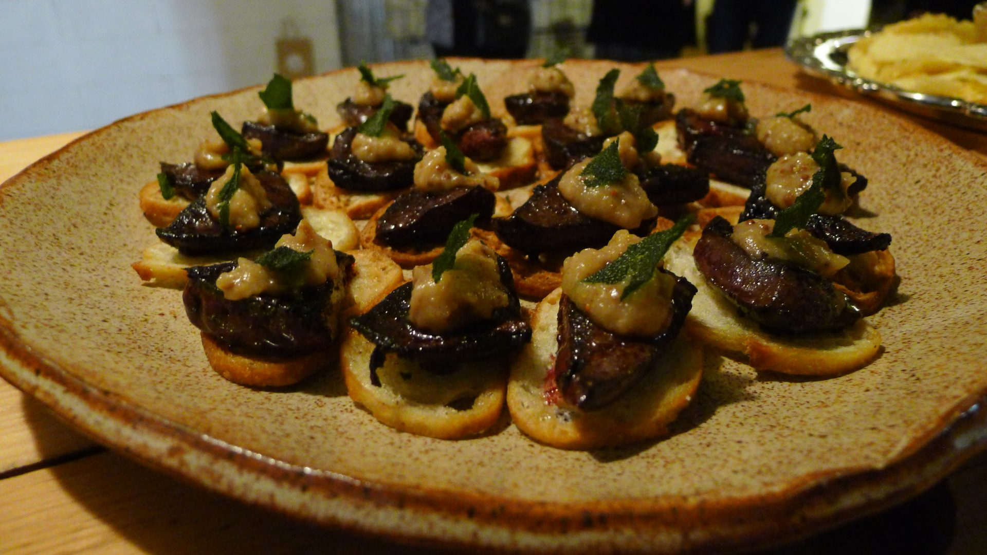 Seared Venison Liver on Crostini with Apple. A favourite of mine.