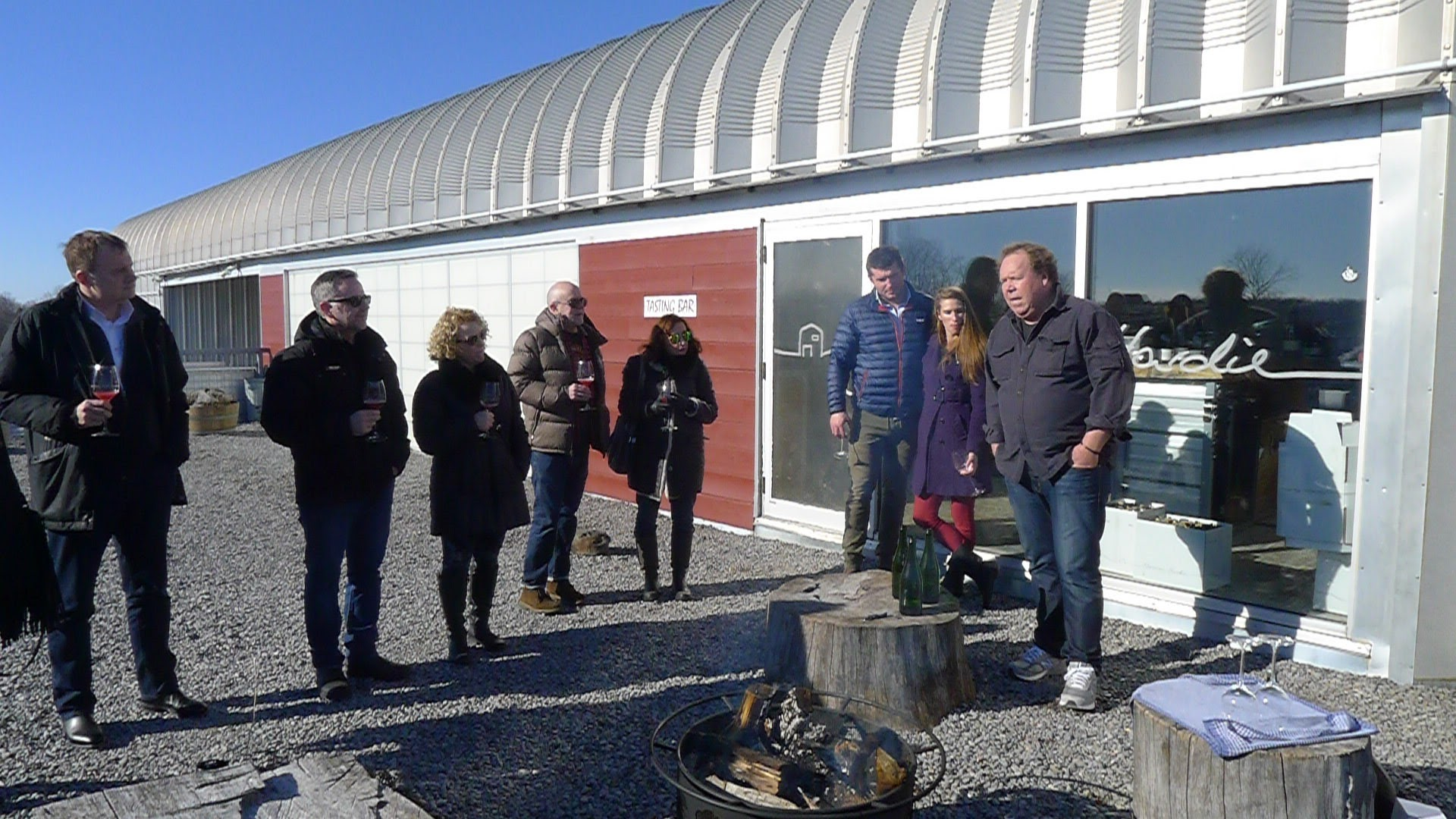 The next morning at Norman Hardie's for some sparkling and oysters around the brazier.