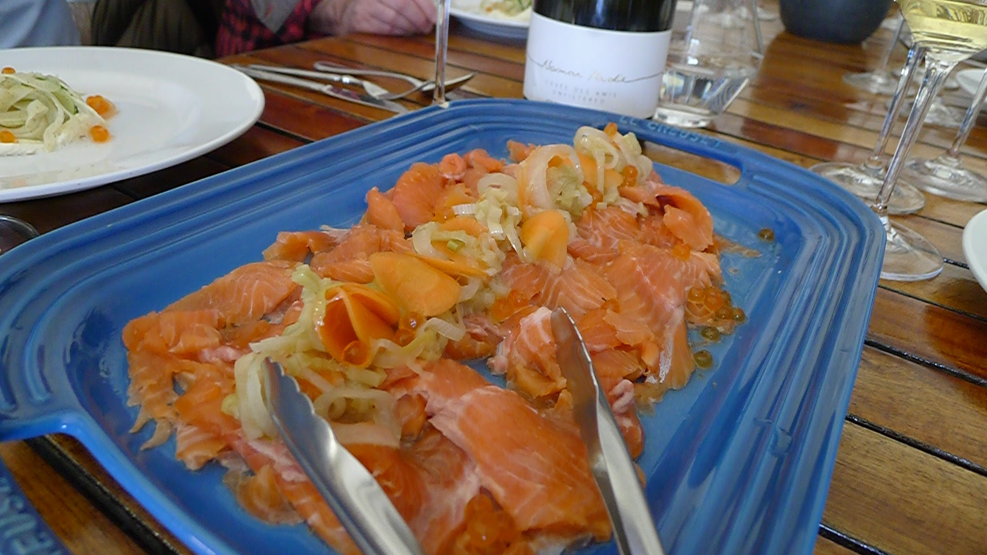 Lightly-Smoked Lake Trout with Carrots and Fennel.