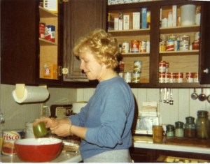 Jean Carnahan in the kitchen as a young mother