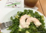 Avocado watercress salad with spicy shrimp *