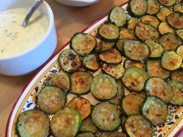 Zucchini rounds and tsitski sauce on the summer menu