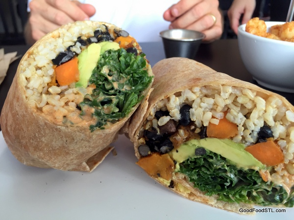 lulu's local eatery black bean burrito with quinoa