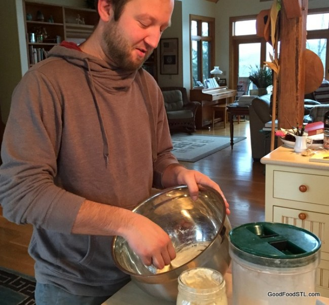 Austin works with the sourdough starter
