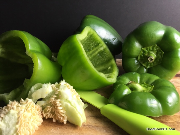 Green peppers ready to become Sicilian Stuffed Peppers