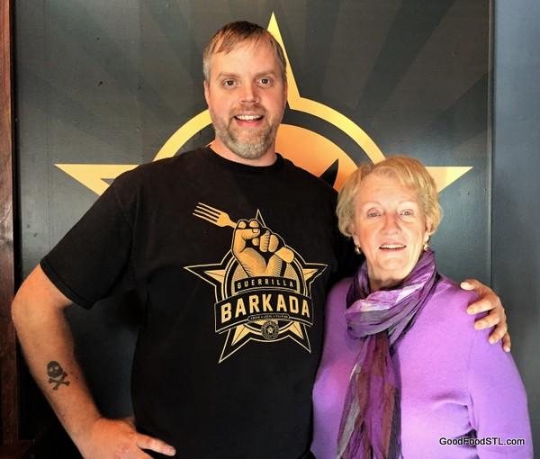 Bryan Hardesy greets jean Carnahan at guerrilla street food