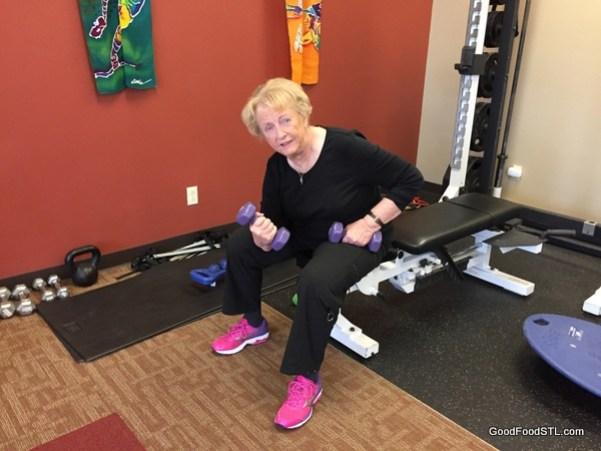 Lifting weights at gym