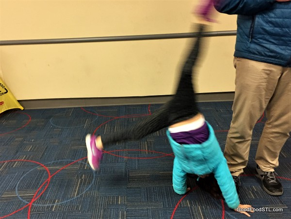 Doing cartwheels in the airport