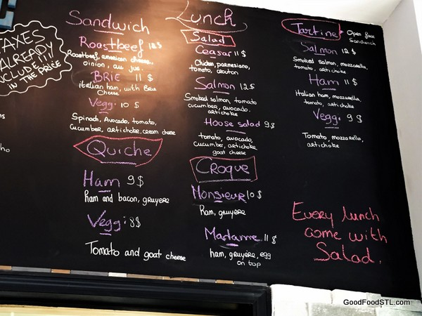 Menu board from Like Home French Cafe and Pastry Shop