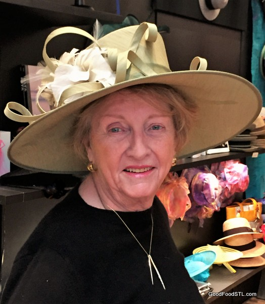 Jean Carnahan wearing hat at Dega exhibit.