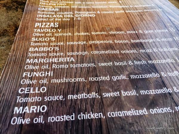 Tavola V Restaurant pizza menu