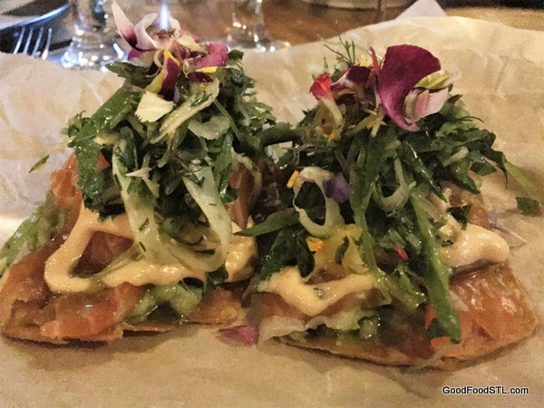 Salmon Tostados at Nixta