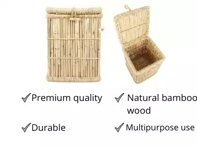 EXTENSO Eco-Friendly Natural Bamboo Laundry Basket( best strong laundry basket ).