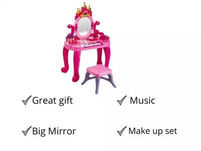 vikrida pretend play kids vanity table and beauty play set