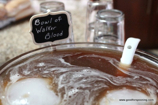 Bowl of Walker Blood Punch. Bulleit Bourbon and Fireball hit hard in this creeptastic punchbowl recipe.