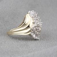 Pre-Owned Diamond Dinner Ring in 10 Karat Yellow Gold