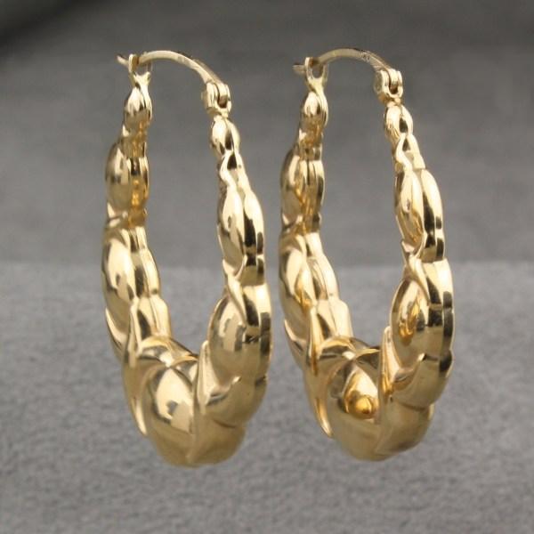 Karat Yellow Gold Hoop Earrings 14k White - Trendearrings