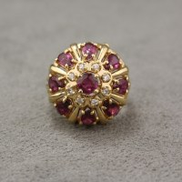 Vintage 14 Karat Yellow Gold Ruby and Diamond Cluster Ring