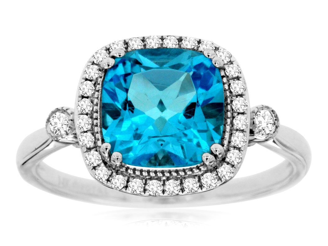 White Gold Blue Topaz Amp Diamond Ring