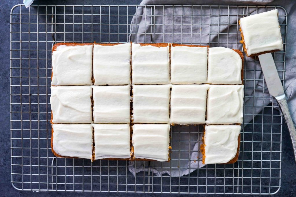 gluten-free pumpkin squares iced and cut into squares