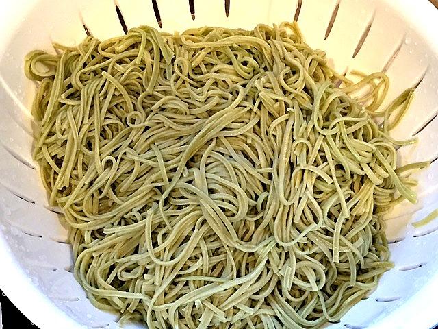 Edamame Spaghetti in a strainer