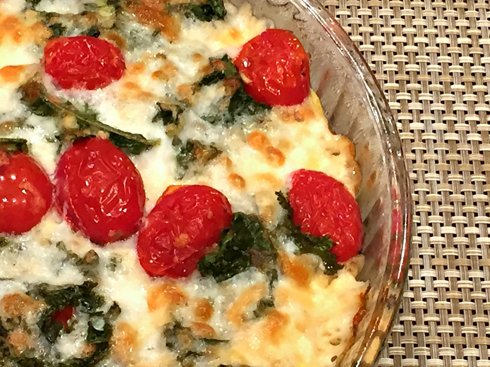 Gluten-Free Kale & Tomato Quiche with a Hash Brown Crust