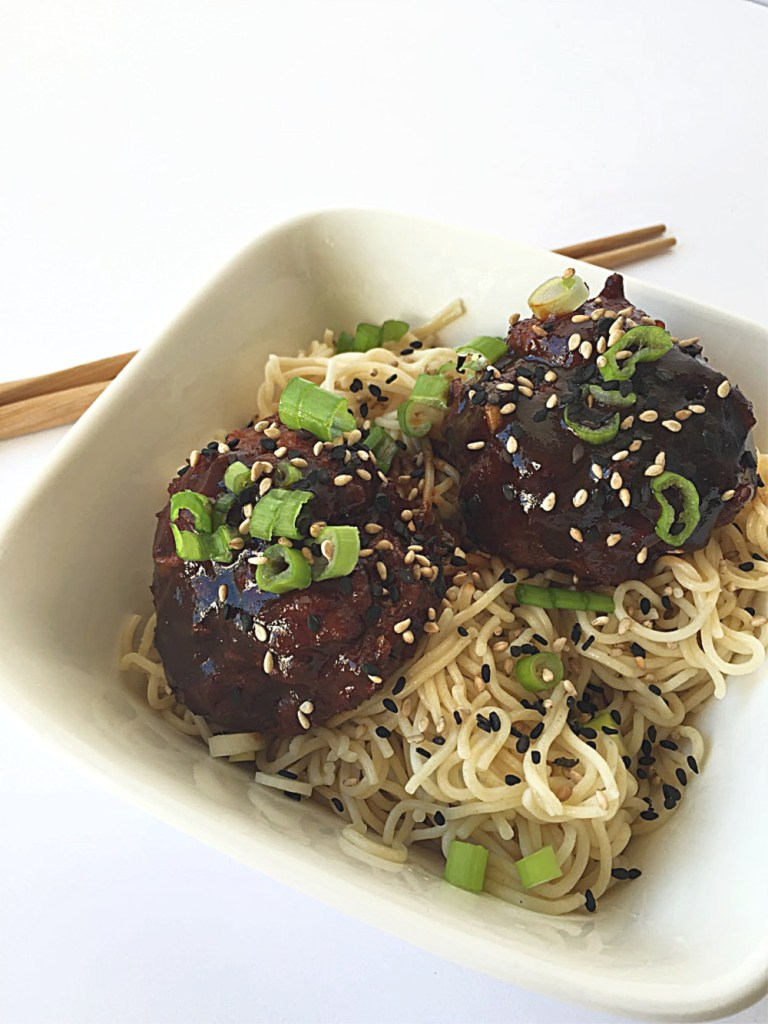 Gluten-Free Asian-Sesame Meatballs with Rice Ramen 1a
