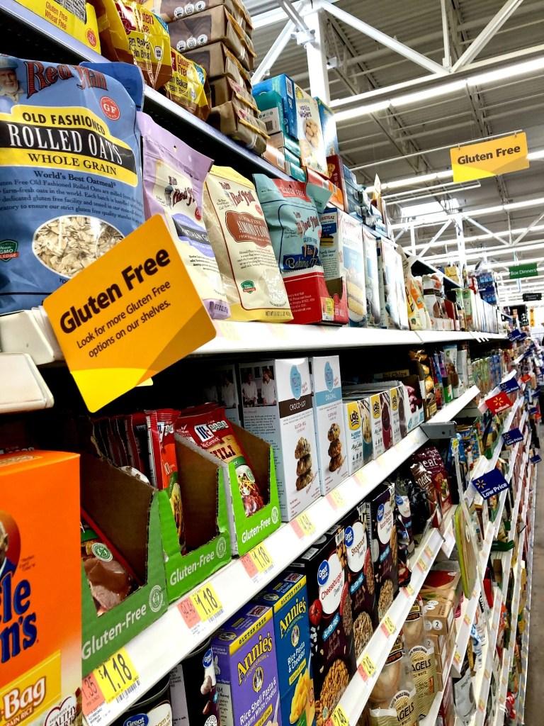Gluten-free shelf tag at Walmart