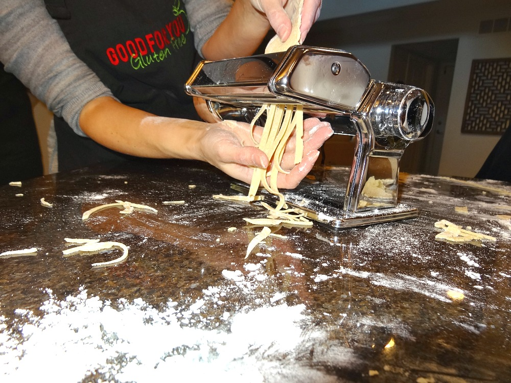 Gluten-Free Pasta Coming Out of Machine