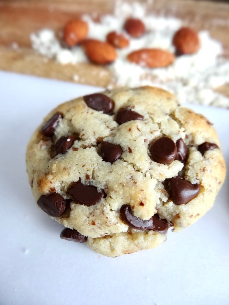 Tons of chocolate chips inside the almond flour cookies