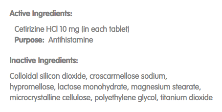Zyrtec ingredient list