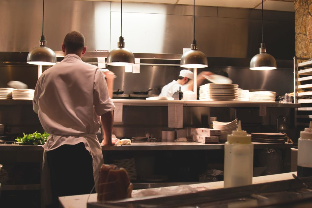 Busy restaurant prep