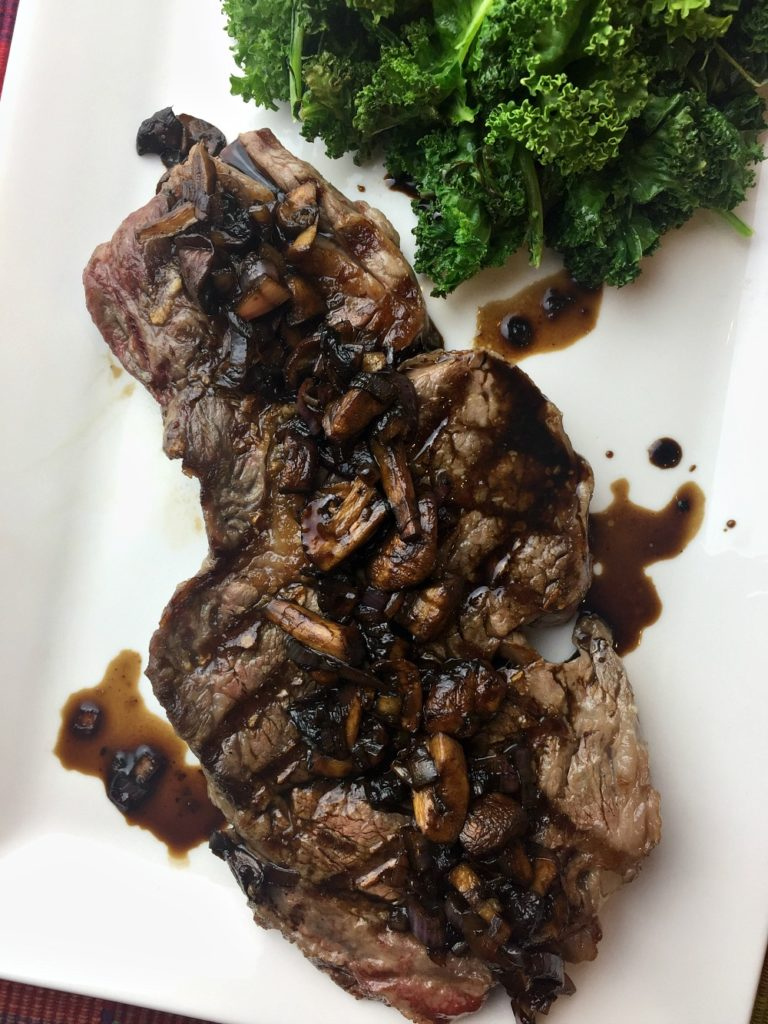 Grilled Ribeye with Balsamic Glaze and Kale 2