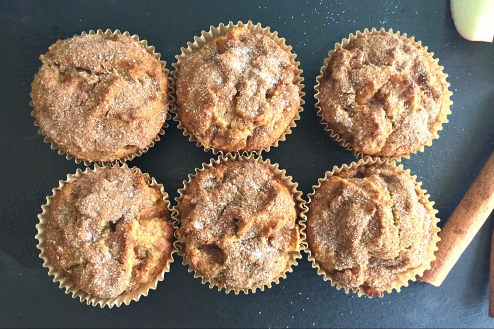Almond Flour Muffins with Apple Pie Filling and Cinnamon-Sugar Topping