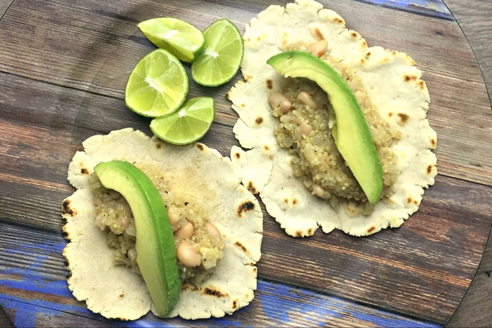 Quinoa and Bean Tacos with Lime
