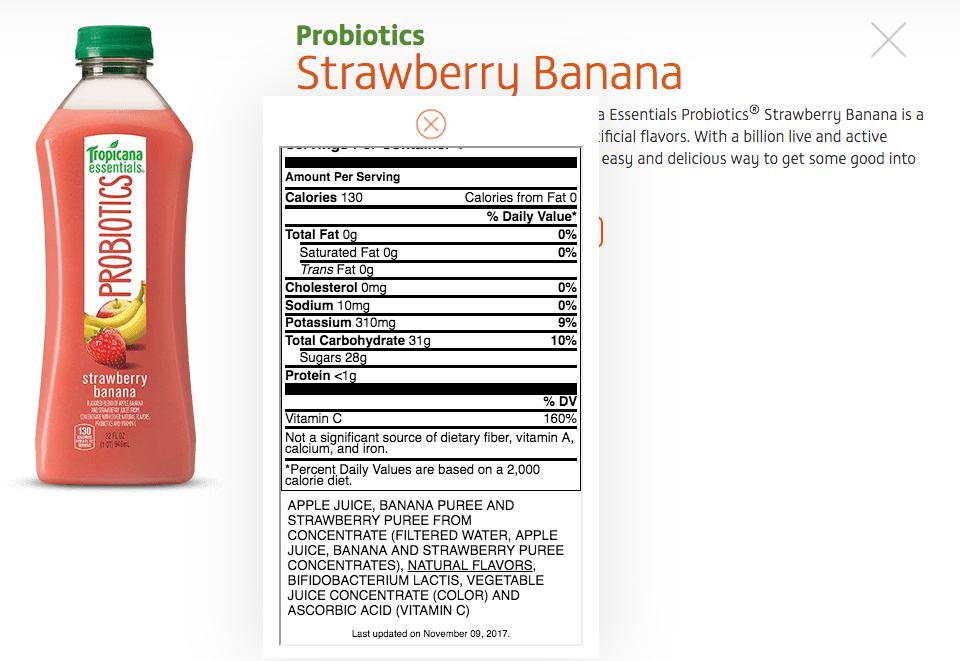 30 Tropicana Orange Juice Nutrition Label